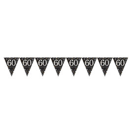 Amscan sparkling vlaggenlijn 60 jaar zilver 4 meter