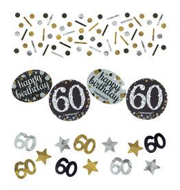 Amscan sparkling tafelconfetti 60 jaar zilver