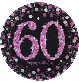 Amscan sparkling borden 60 jaar zwart/roze 8 stuks