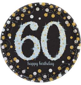 Amscan sparkling borden 60 jaar zwart zilver 8 stuks