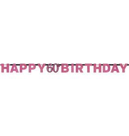 Amscan sparkling letterslinger 60 jaar zwart roze