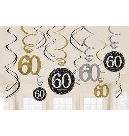 Amscan sparkling hangdecoratie 60 jaar zwart/zilver