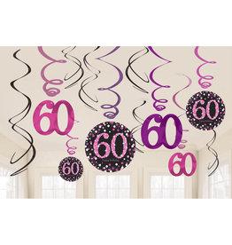 Amscan sparkling hangdecoratie 60 jaar zwart/roze