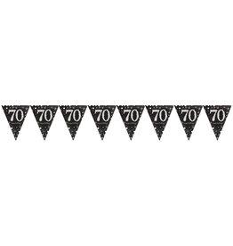 Amscan sparkling vlaggenlijn 70 jaar zwart zilver 4 meter
