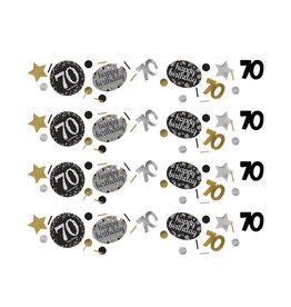 Amscan sparkling confetti zwart zilver 70 jaar