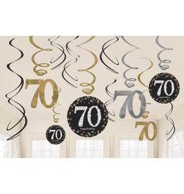 Amscan sparkling hangdecoratie zwart zilver 70 jaar