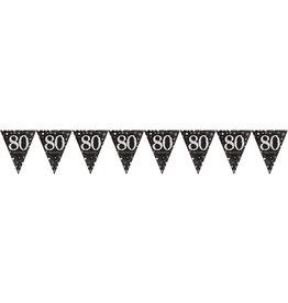 Amscan sparkling vlaggenlijn 80 jaar zwart zilver 4 meter