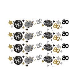 Amscan sparkling tafelconfetti zwart zilver 80 jaar 34 gram