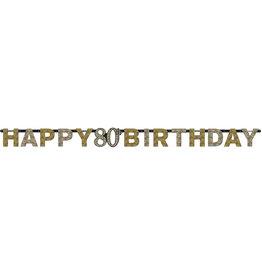 Amscan sparkling letterslinger 80 jaar goud zilver