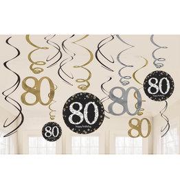 Amscan sparkling hangdecoratie zwart zilver 80 jaar