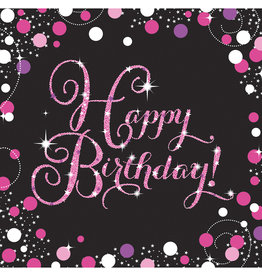 Amscan sparkling servetten happy birthday zwart roze