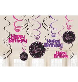 Amscan sparkling hangdecoratie hb zwart/roze