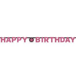 Amscan sparkling letterslinger happy birthday zwart roze