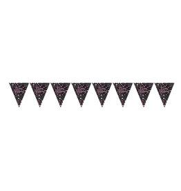 Amscan vlaggenlijn sparkling roze, paars en zwart 4 meter