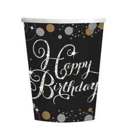 Amscan sparkling bekers happy birthday 8 stuks zwart zilver
