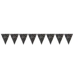Amscan vlaggenlijn sparkling goud,zilver, zwart 4 meter
