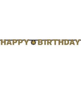 Amscan sparkling letterslinger happy birthday goud/zwart