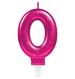 Amscan sparkling roze kaars cijfer 0