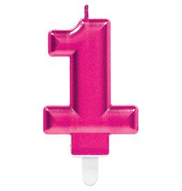 Amscan sparkling roze kaars cijfer 1