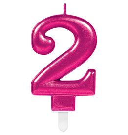 Amscan sparkling roze kaars cijfer 2