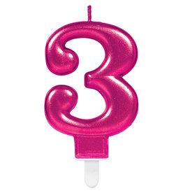Amscan sparkling roze kaars cijfer 3