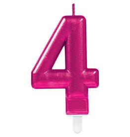 Amscan sparkling roze kaars cijfer 4