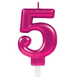 Amscan sparkling roze kaars cijfer 5