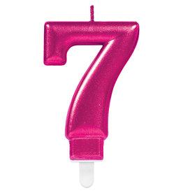 Amscan sparkling roze kaars cijfer 7