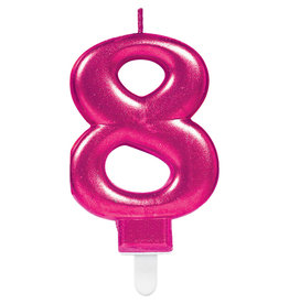 Amscan sparkling roze kaars cijfer 8