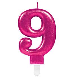 Amscan sparkling roze kaars cijfer 9