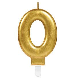 Amscan sparkling gouden kaars cijfer 0