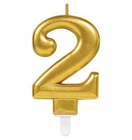 Amscan sparkling gouden kaars cijfer 2
