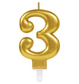 Amscan sparkling gouden kaars cijfer 3