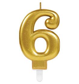 Amscan sparkling gouden kaars cijfer 6
