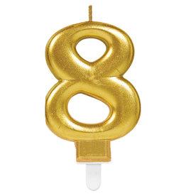 Amscan sparkling gouden kaars cijfer 8