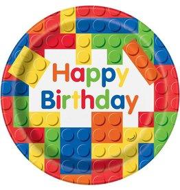 Haza lego borden happy birthday 23 cm 8 stuks