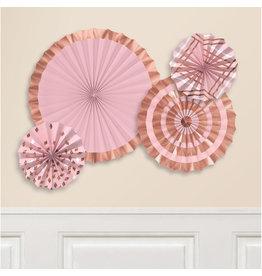 Amscan rosettes roze/rosegoud 4-delig
