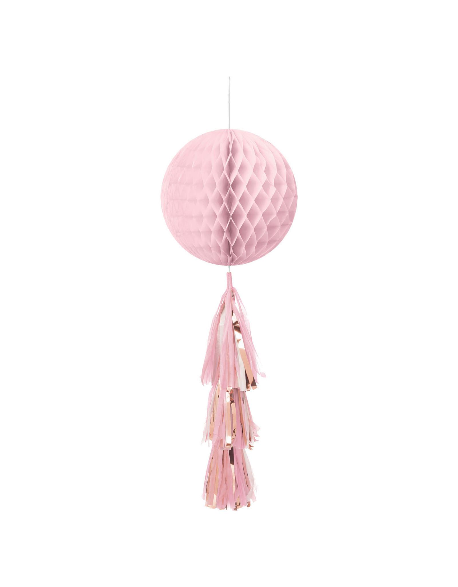 Amscan honeycomb met tassel roze/rose goud 1 stuk