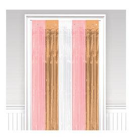 Amscan deurgordijn wit, rose, rose goud 91,4 x 243 cm