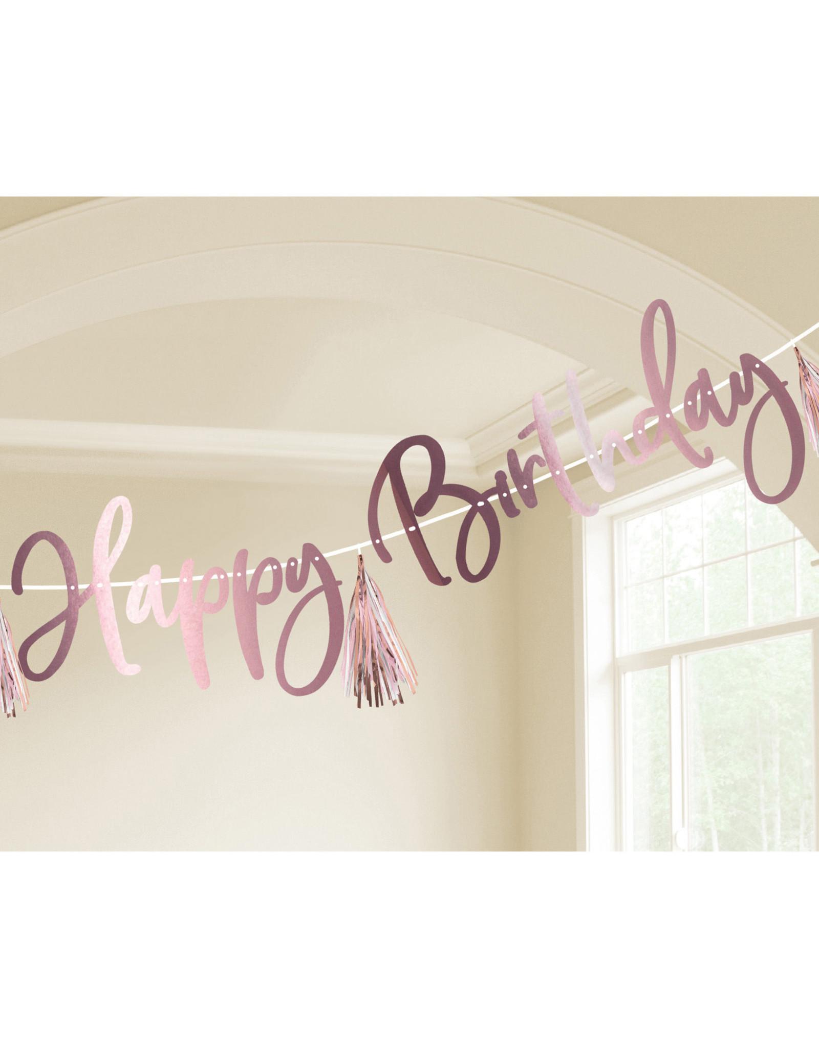 Amscan happy birthday banner kit DIY rose gold