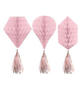 Amscan honeycombs roze/rose gouden tassel 3 stuks