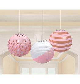 Amscan lampionnenset roze/rose goud 3 stuks