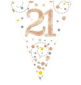 Vlaggenlijn 21 jaar wit met rose goud 3.9 meter