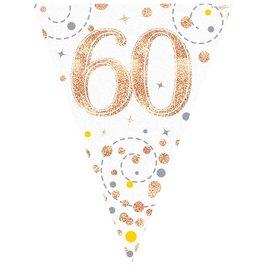 Vlaggenlijn 60 jaar wit met rose goud 3.9 meter