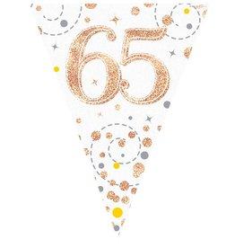 Vlaggenlijn 65 jaar wit met rose goud 3.9 meter