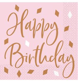 Amscan servetten rose goud baby roze happy birthday 16 stuks
