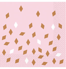 Amscan servetten rose goud/baby roze 16 stuks 33 x 33 cm