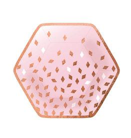 Amscan borden rose goud met baby roze 6-hoekig 8 stuks