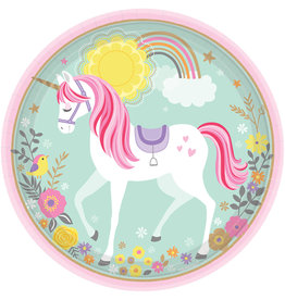Amscan unicorn borden 8 stuks 22.9 cm