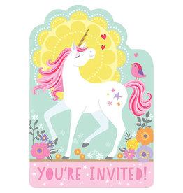 Amscan unicorn uitnodigingen 8 stuks